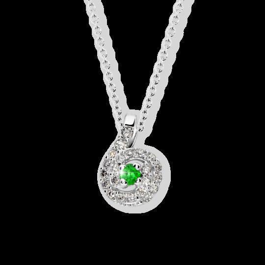 Zlatý dámský přívěsek DF 3157, bílé zlato, smaragd s diamanty