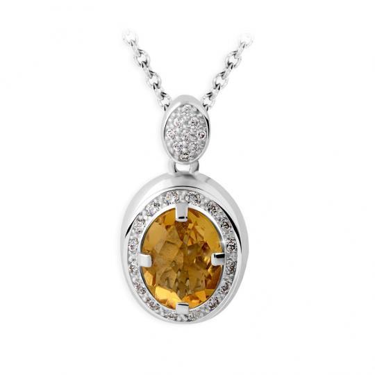 Zlatý dámský přívěsek DF 3369, bílé zlato, citrín s diamanty