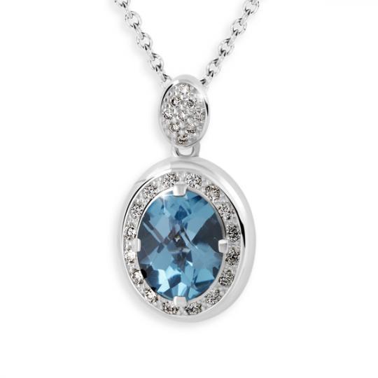 Zlatý dámský přívěsek DF 3369, bílé zlato, modrý topaz s diamanty
