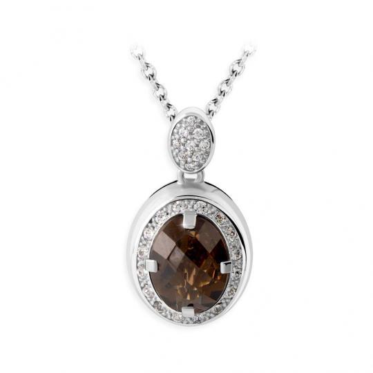 Zlatý dámský přívěsek DF 3369, bílé zlato, záhněda s diamanty