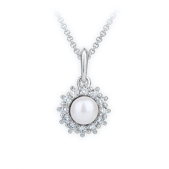 Zlatý dámský přívěsek DF 4301, bílé zlato, sladkovodní perla