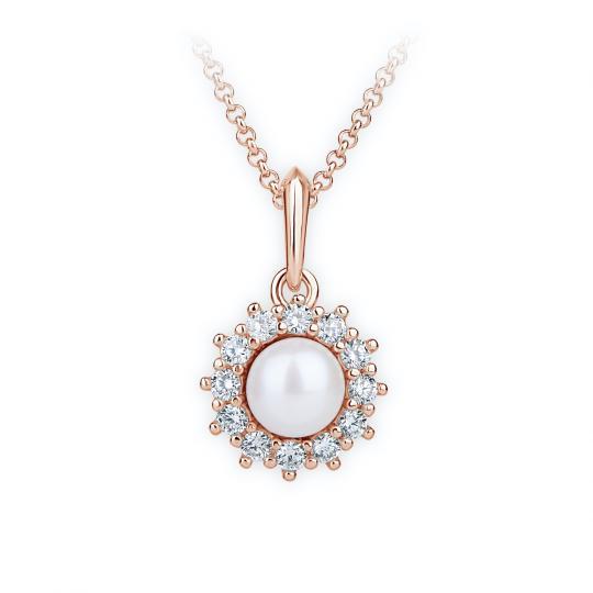 Zlatý dámský přívěsek DF 4301, růžové zlato, sladkovodní perla