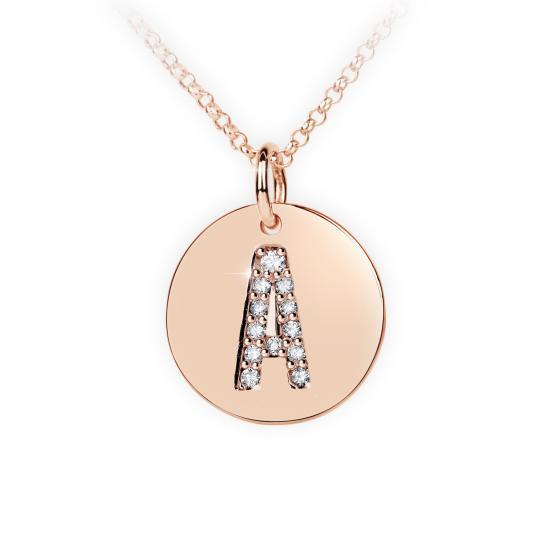 Zlatý dámský přívěsek DF 4480, písmeno A,  růžové zlato, s brilianty