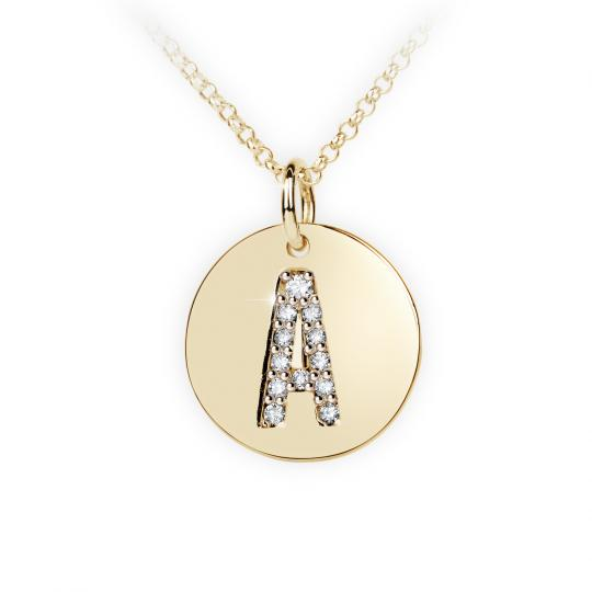 Zlatý dámský přívěsek DF 4480, písmeno A, žluté zlato, s brilianty