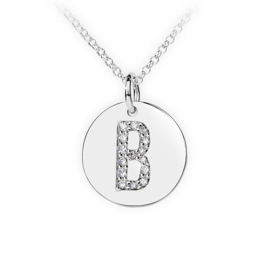 Zlatý dámský přívěsek DF 4481, písmeno B, bílé zlato, s brilianty