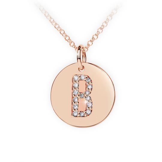 Zlatý dámský přívěsek DF 4481, písmeno B, růžové zlato, s brilianty
