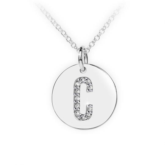Zlatý dámský přívěsek DF 4482, písmeno C, bílé zlato, s brilianty