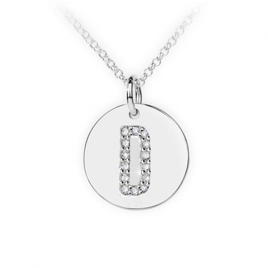 Zlatý dámský přívěsek DF 4483, písmeno D, bílé zlato, s brilianty