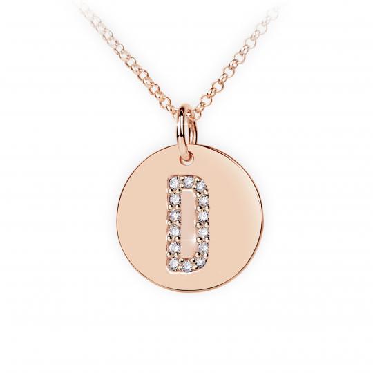 Zlatý dámský přívěsek DF 4483, písmeno D, růžové zlato, s brilianty