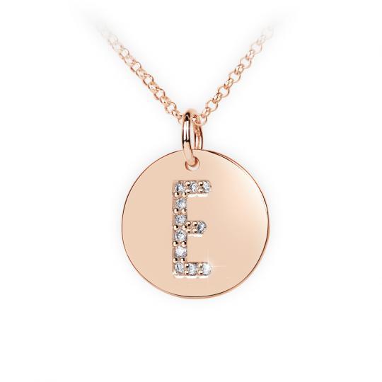 Zlatý dámský přívěsek DF 4484, písmeno E, růžové zlato, s brilianty
