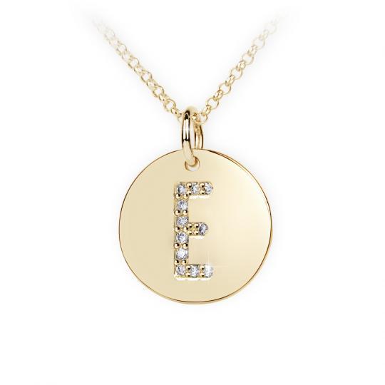Zlatý dámský přívěsek DF 4484, písmeno E, žluté zlato, s brilianty