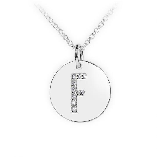 Zlatý dámský přívěsek DF 4485, písmenko F, bílé zlato, s brilianty