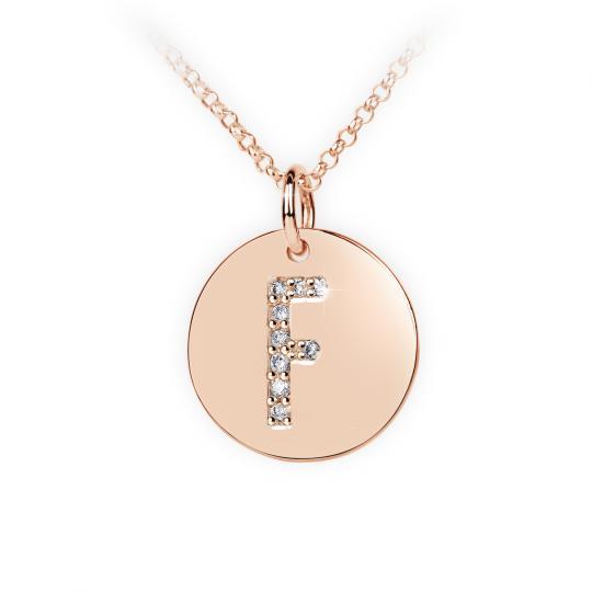 Zlatý dámský přívěsek DF 4485, písmenko F, růžové zlato, s brilianty