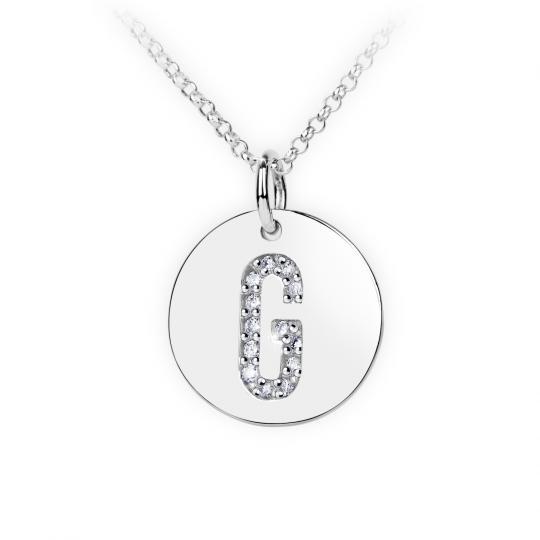 Zlatý dámský přívěsek DF 4486, písmenka G, bílé zlato, s brilianty