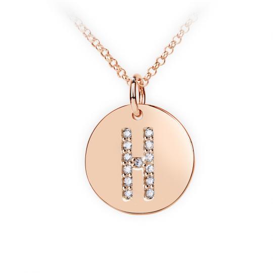 Zlatý dámský přívěsek DF 4487, písmenko H, růžové zlato, s brilianty