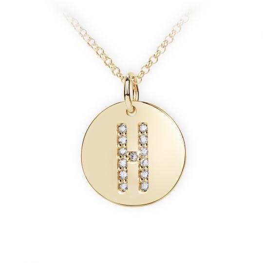 Zlatý dámský přívěsek DF 4487, písmenko H, žluté zlato, s brilianty