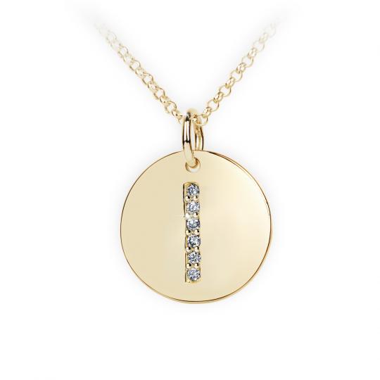 Zlatý dámský přívěsek DF 4488, písmenko I, žluté zlato, s brilianty