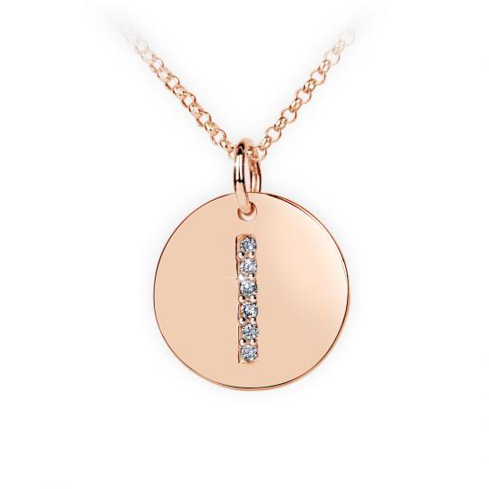 Zlatý dámský přívěsek DF 4488, růžové zlato, písmenko I, s brilianty