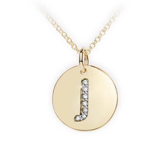 Zlatý dámský přívěsek DF 4489, písmenko J, žluté zlato, s brilianty