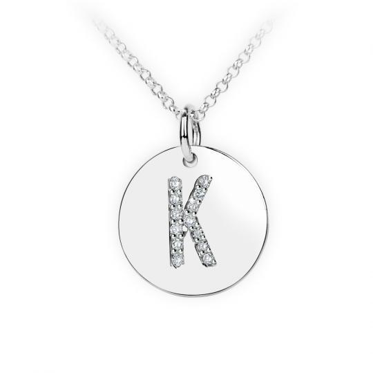 Zlatý dámský přívěsek DF 4490, písmenko K, bílé zlato, s brilianty