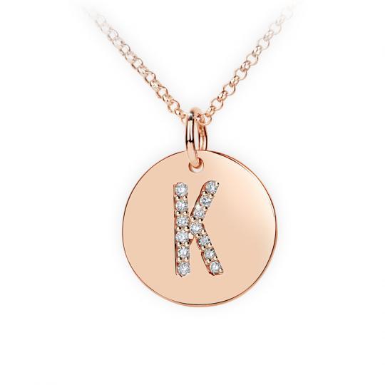 Zlatý dámský přívěsek DF 4490, písmenko K, růžové zlato, s brilianty