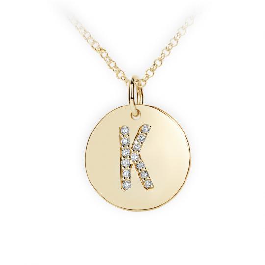 Zlatý dámský přívěsek DF 4490, písmenko K, žluté zlato, s brilianty