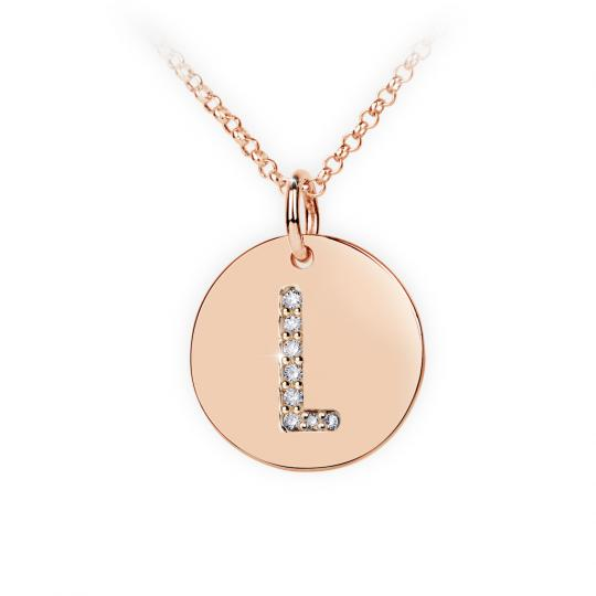 Zlatý dámský přívěsek DF 4491, písmenko L, růžové zlato, s brilianty