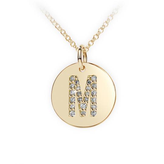 Zlatý dámský přívěsek DF 4492 písmenko M, žluté zlato, s brilianty