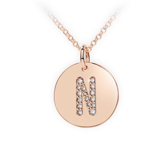Zlatý dámský přívěsek DF 4493, písmenko N, růžové zlato, s brilianty