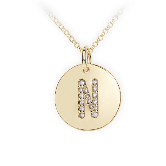 Zlatý dámský přívěsek DF 4493, písmenko N, žluté zlato, s brilianty