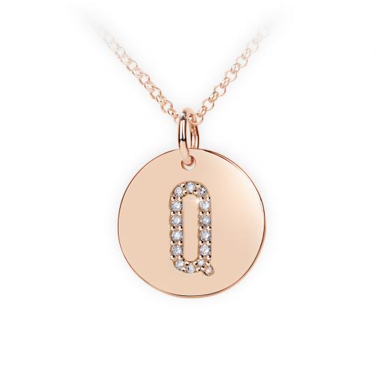 Zlatý dámský přívěsek DF 4496, písmenko Q, růžové zlato, s brilianty