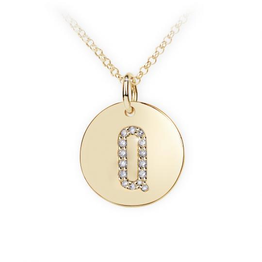 Zlatý dámský přívěsek DF 4496, písmenko Q, žluté zlato, s brilianty