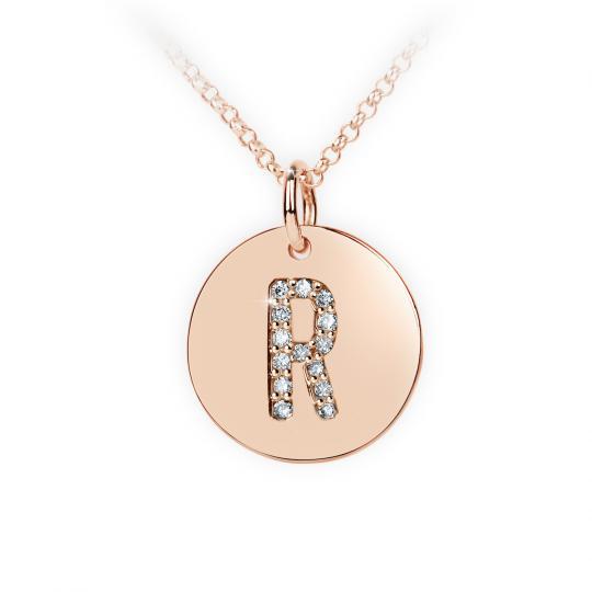 Zlatý dámský přívěsek DF 4497, písmenko R, růžové zlato, s brilianty