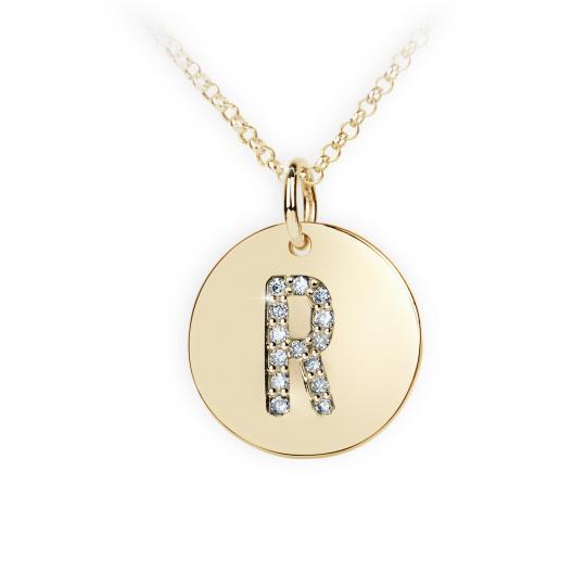 Zlatý dámský přívěsek DF 4497, písmenko R, žluté zlato, s brilianty
