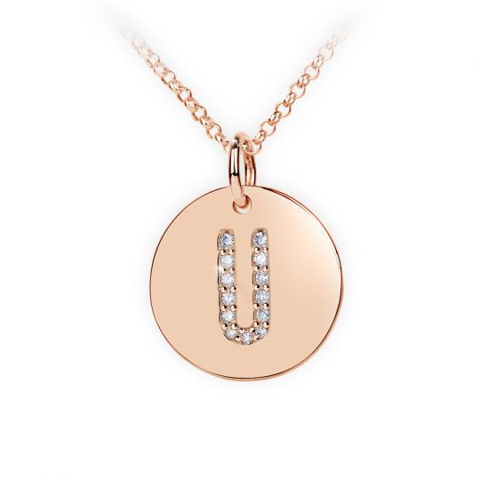 Zlatý dámský přívěsek DF 4500, písmenko U, růžové zlato, s brilianty