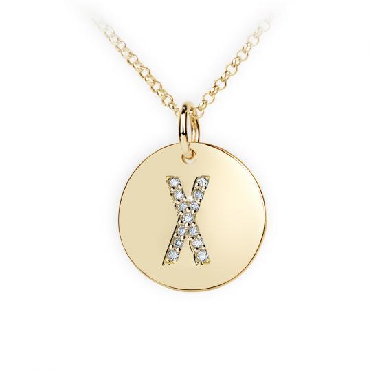 Zlatý dámský přívěsek DF 4503, písmenko X, žluté zlato, s brilianty