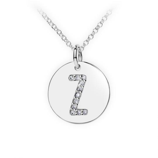 Zlatý dámský přívěsek DF 4505, písmenko Z, bílé zlato, s brilianty