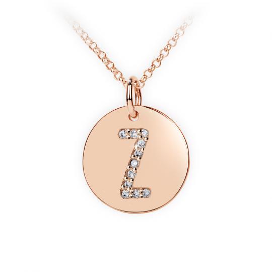 Zlatý dámský přívěsek DF 4505, písmenko Z, růžové zlato, s brilianty