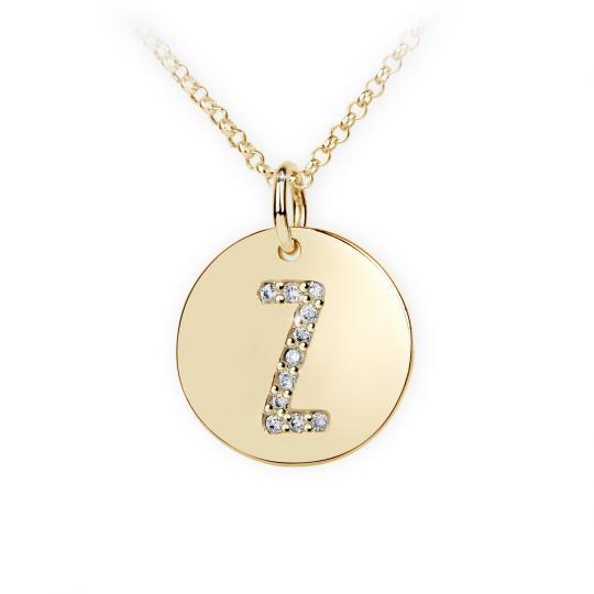 Zlatý dámský přívěsek DF 4505, písmenko Z, žluté zlato, s brilianty
