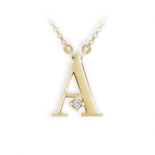 Zlatý dámský přívěsek DF 4506, písmeno A, žluté zlato, s briliantem