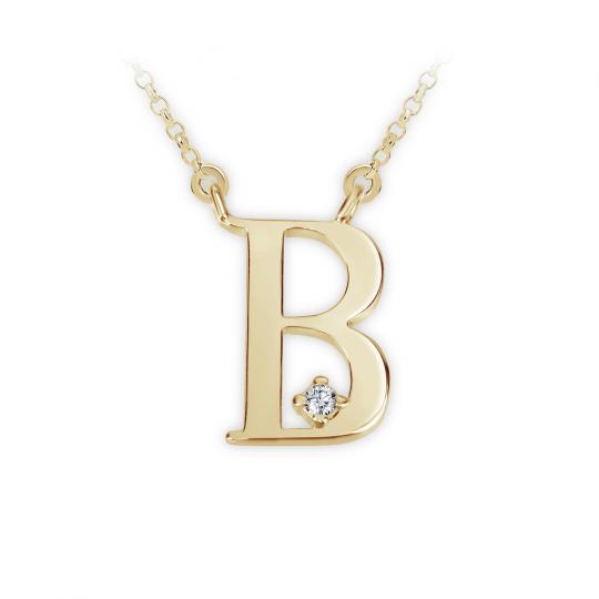 Zlatý dámský přívěsek DF 4507, písmenko B, žluté zlato, s briliantem