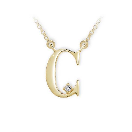 Zlatý dámský přívěsek DF 4508, písmenko C, žluté zlato, s brilianty
