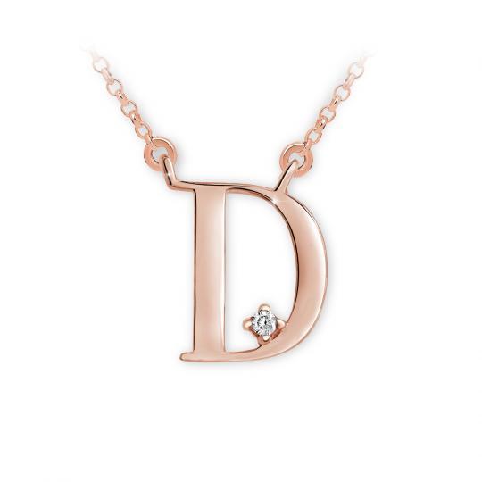 Zlatý dámský přívěsek DF 4509, písmeno D, růžové zlato, s briliantem