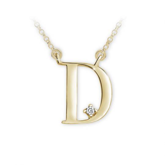 Zlatý dámský přívěsek DF 4509, písmeno D, žluté zlato, s briliantem