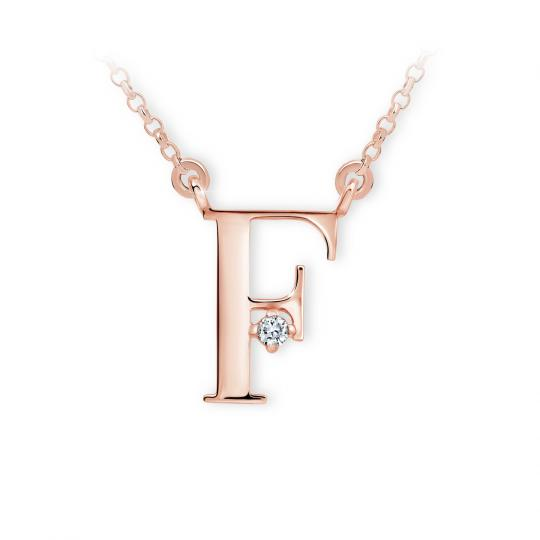 Zlatý dámský přívěsek DF 4511, písmenko F, růžové zlato, s řetízkem a briliantem