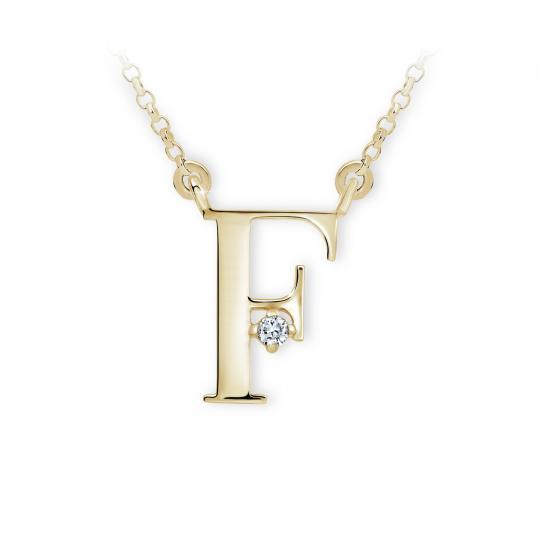 Zlatý dámský přívěsek DF 4511, písmenko F, žluté zlato, s řetízkem a briliantem