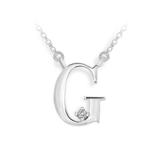 Zlatý dámský přívěsek DF 4512, písmenko G, bílé zlato, s řetízkem a briliantem