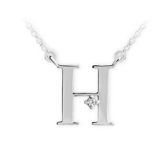 Zlatý dámský přívěsek DF 4513, písmenko H, bílé zlato, s řetízkem a briliantem