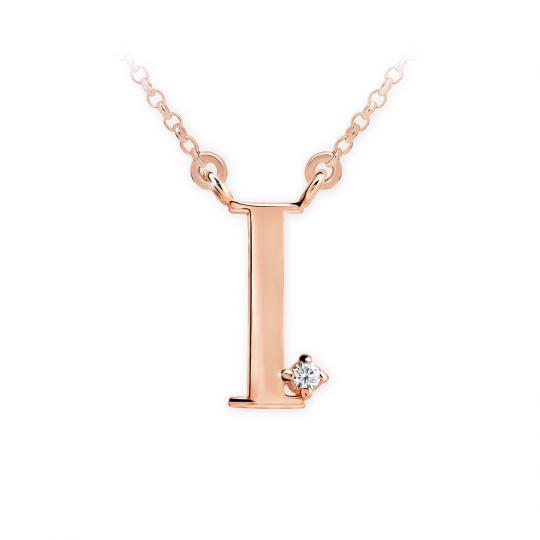 Zlatý dámský přívěsek DF 4514, písmeno I, růžové zlato, s řetízkem a briliantem