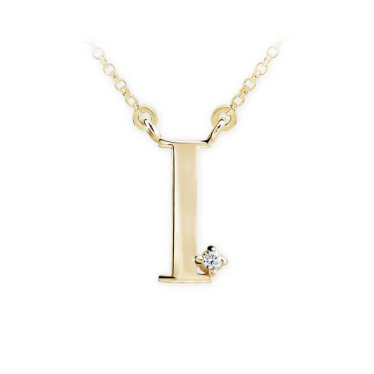 Zlatý dámský přívěsek DF 4514, písmeno I,  žluté zlato, s řetízkem a briliantem